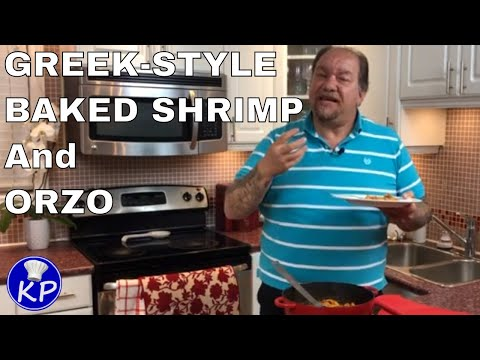 baked shrimp and orzo with chickpeas  lemon  and dill