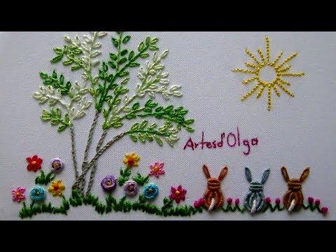 Brazilian Embroidery for Baby: Bullion Embroidery Design   Bordado Brasileño para bebé-Punto Rococo