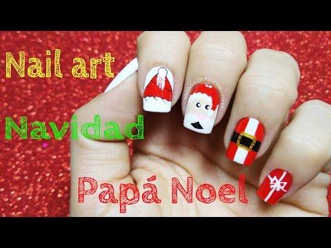 Decoración de uñas navidad papa noel - Christmas nail art Santa Claus