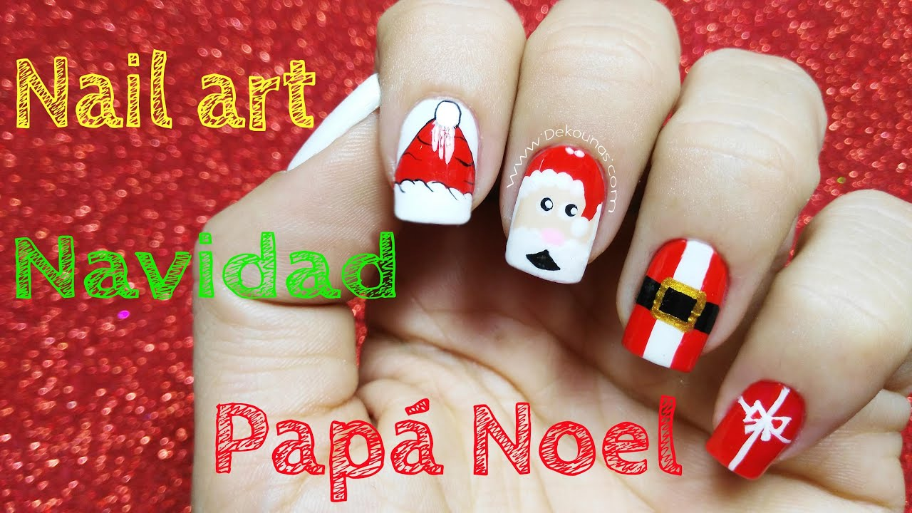 Decoraci n de u as navidad papa noel christmas nail art - Decoracion de unas ...