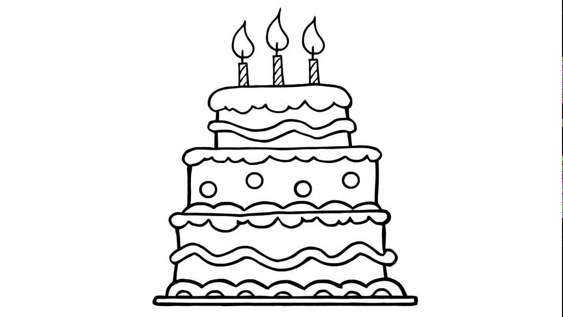 Cómo dibujar un bonito pastel de cumpleaños - YouTube
