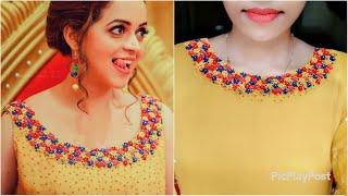 Bhavana inspired neck design|നമുക്കും ചെയ്യാം|Elegant Hand embroidery neck design