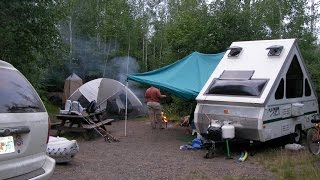 Aliner A frame dry camping set up