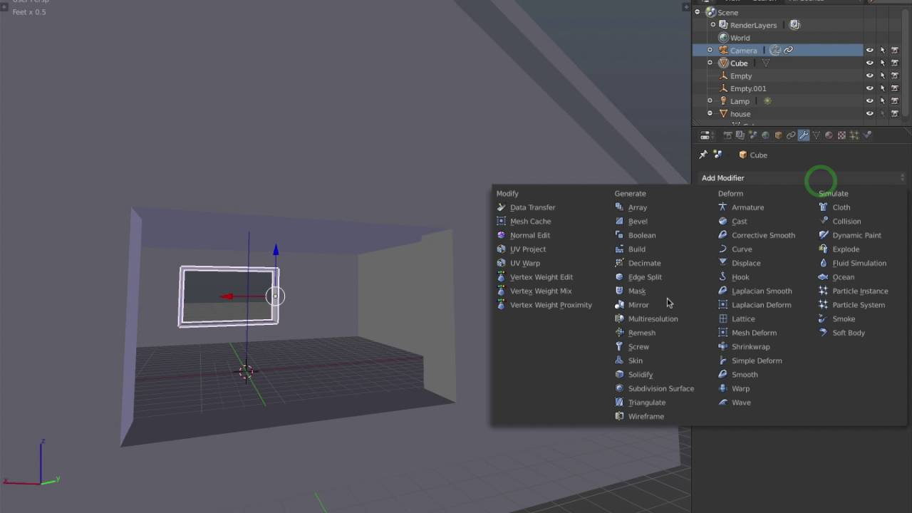 Blender 2 7 7: Mirror window sill on house using modifier and empty object