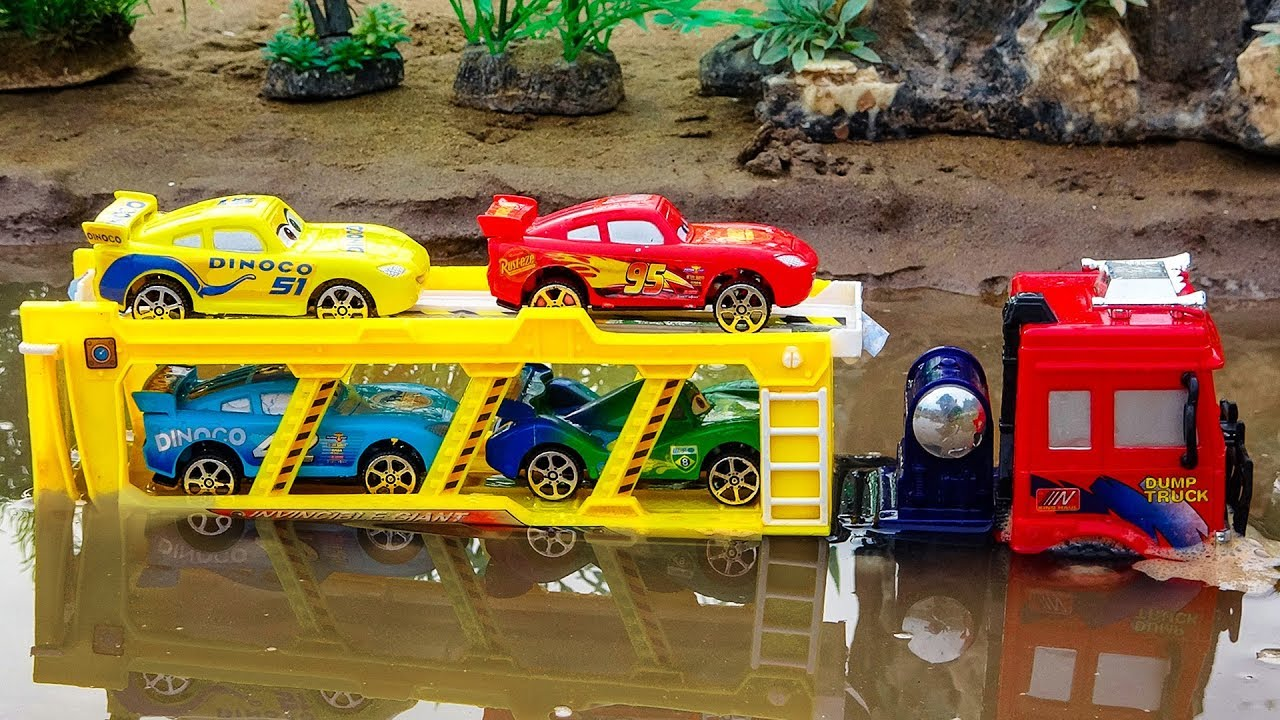 Truck Transporter Crossing On Deep Water | Disney Car, Tayo Little bus toys For Kids | Cars and Toys