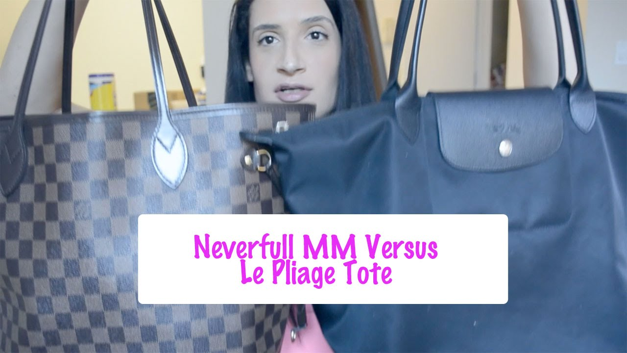 Louis Vuitton Neverfull MM Versus Longchamp Le Pliage Tote Size Large --  Review and Comparison - YouTube 406975d4785fd