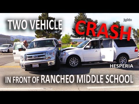 Two Vehicle Crash front of Ranchero Middle School