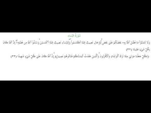 SURAH AN-NISA #AYAT 32-33: 19th February 2020