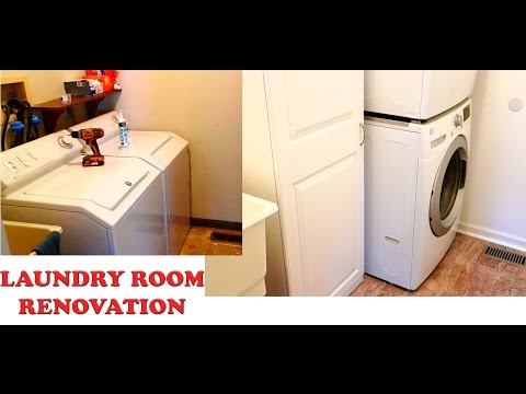 Laundry Room Renovations DIY Remodel Floors Painting Spackle and Trim