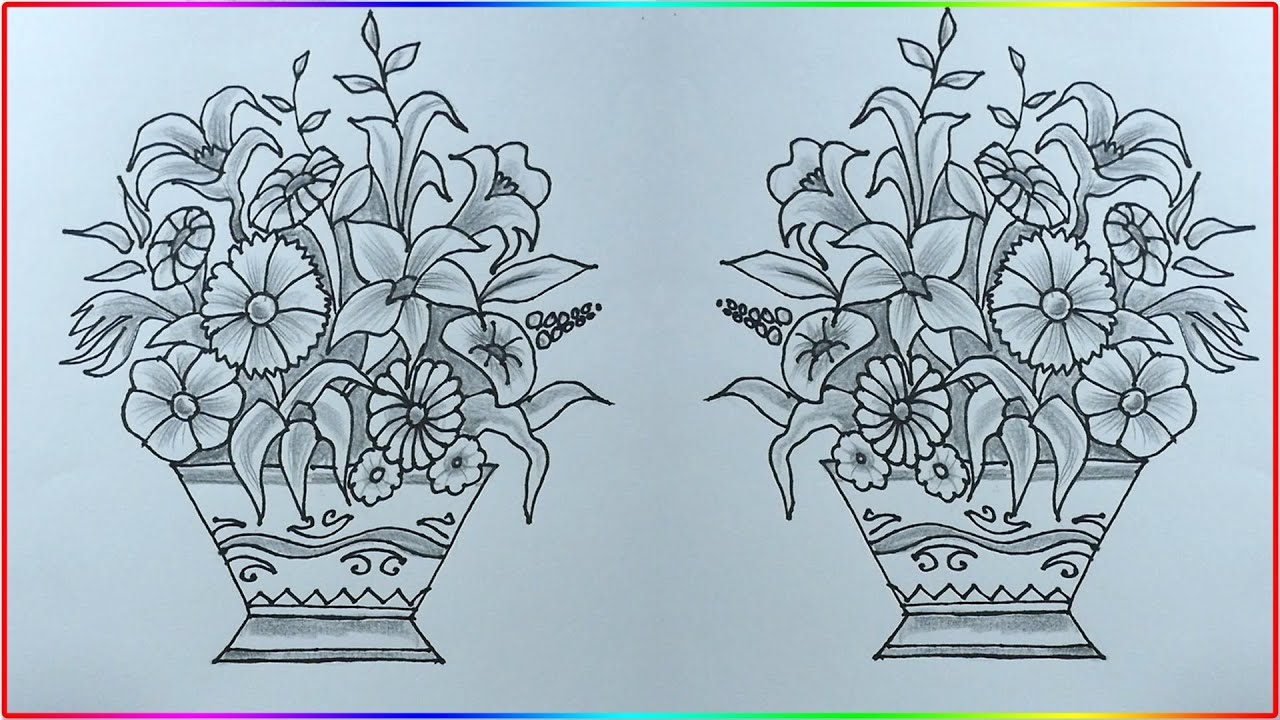 How To Draw Flower Vase Easy Pencil Drawing Flower Pot Art Step By Step S Nagender Youtube
