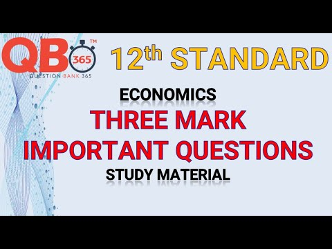 TN   12th Standard Economics Three Mark Important Questions With Answer Key - Full Portion