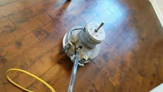 Using a white pad to buff out hardwood floors