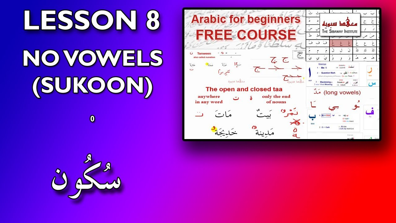 Arabic vowels additional symbols special letters lessons tes arabic for beginners lesson 8 no vowels sukoon buycottarizona Gallery