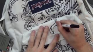 drawing on my JANNY (custom backpack art)