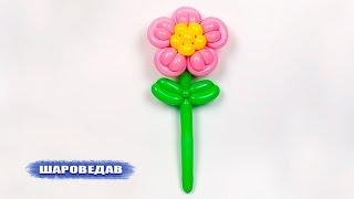 Как сделать цветок из шарика. How to make a flower of balloon.