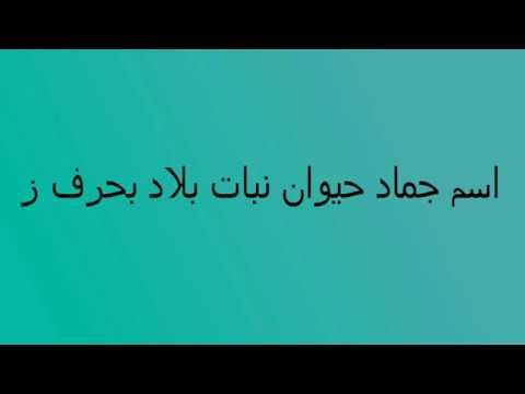 اسم جماد حيوان نبات بلاد بحرف ز Youtube