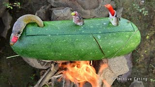 Ancient Cooking Steam Fish in Melon To Survive in the Wild | Primitive Eating