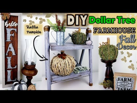 Dollar Tree DIY | Farmhouse Fall Decor 2019 | Raffia Pumpkin DIY