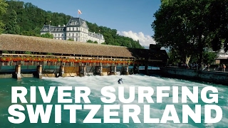 Epic river surfing Switzerland - Aare River, Thun