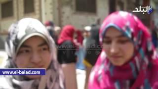 بالفيديو والصور.. فرحة طلاب ثانوية بني سويف لسهولة امتحان اللغة العربية