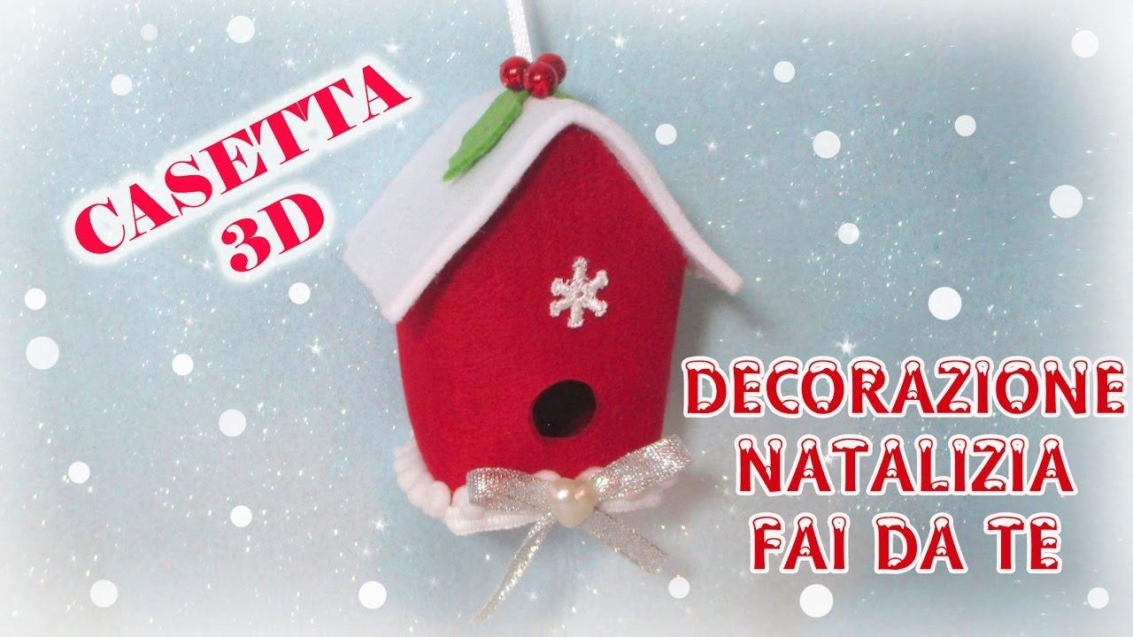Casetta 3d decorazione natalizia in feltro senza cucire for Casette per conigli fai da te