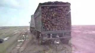 Following a logging truck in Kazakhstan