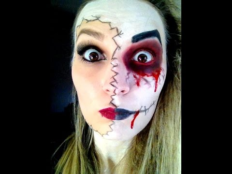 tuto n 15 maquillage facile halloween makeup easy double face youtube. Black Bedroom Furniture Sets. Home Design Ideas