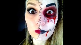 "Tuto n°15: Maquillage facile Halloween / Makeup easy ""double face"""