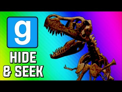 Gmod Hide and Seek Funny Moments - Dinosaur Museum, Peeking Game, Delirious