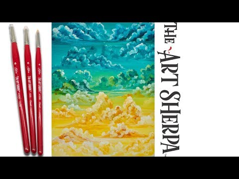 How to Paint fluffy Clouds beginner Acrylic Painting the Art Sherpa 🌧💜😘