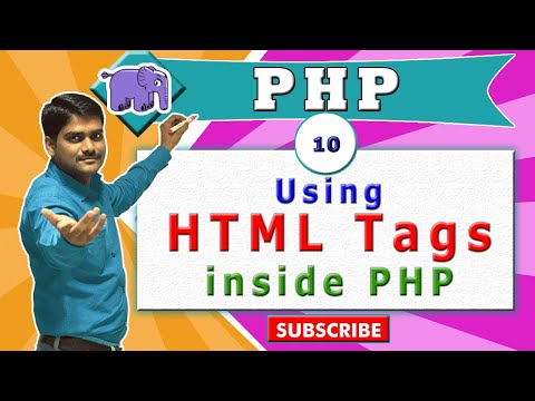 PHP Video Tutorial 10 - HTML Tags Inside PHP