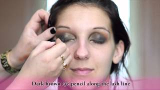 Dark Brown Smokey Eye with orange and gold accents Thumbnail