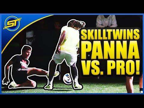 SkillTwins CRAZY Nutmeg/Panna Skill vs. Football Professional Player! ★