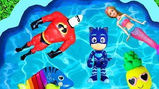 Learn Characters with Pool of Toys - Learn Colors with Pj Masks, Barbie and The Incredibles for Kids