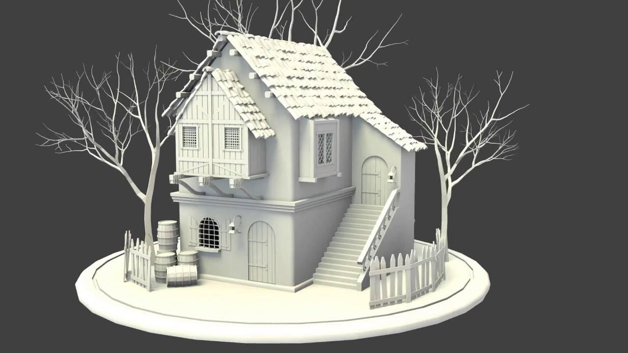 Old House 3d Model Blender