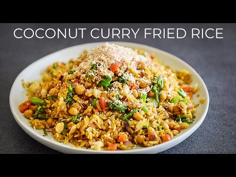 COCONUT CURRY FRIED RICE RECIPE | FAST VEGAN RECIPE!