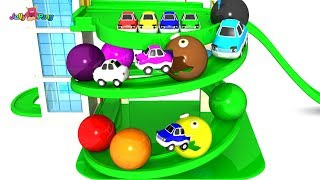 Learning Colors PACMAN city Vehicle parking tower slide  Play for kids car toys