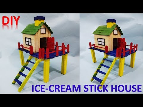 Repeat How to make ice cream stick house || DIY || popsicle
