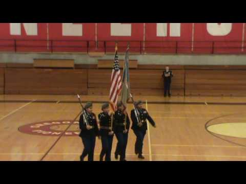 North Salem HS JROTC Color Guard A (The Varangian Guard) @ Oregon City HS  28 January 2017