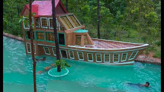 Awesome Build Three Story Boat Villa House & Beautiful Swimming Pool