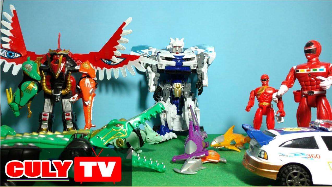 Siêu nhân gao đỏ siêu thú robot biến hình đại chiến rôbốt xe cảnh sát - kid  toy story gao rangers - YouTube