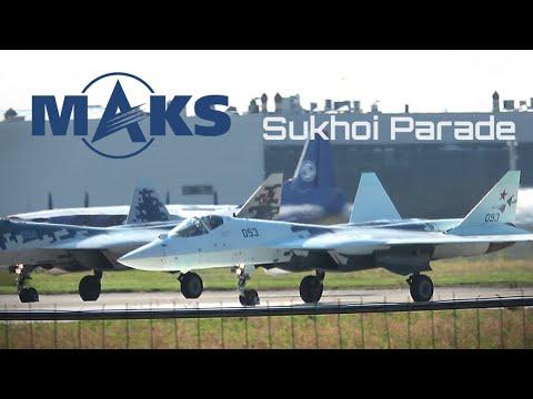 Su-34, Su-35, Su-57 ✈️ Sukhoi 'Air Parade' At MAKS Airshow!!