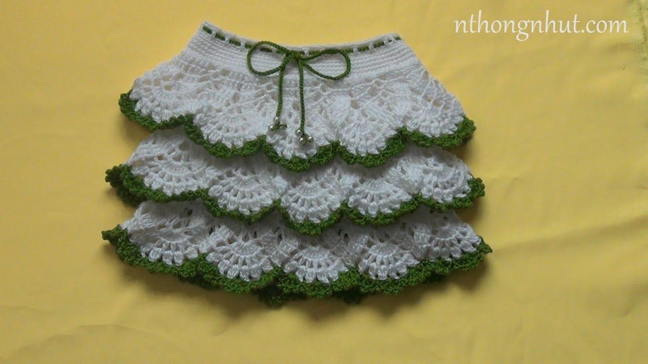 Crochet ruffle skirt tutorial (Eng sub) l Hướng dẫn móc chân váy len họa tiết rẻ quạt cho bé gái