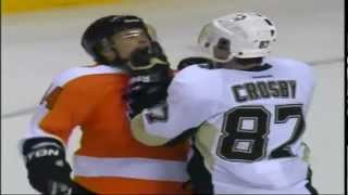 Crosby fights Giroux and Letang fights Timonen Game 3 Penguins vs Flyers NHL Playoffs 2012