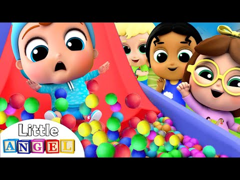 10 Little Babies On The Slide | Playground Song | Little Angel Kids Songs