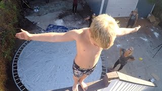 Repeat youtube video Duct Tape Trampoline Leap of Faith w/ Rocco Piazza!