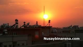Nusaybin'de Güneş batarken güzel manzara oluşturdu