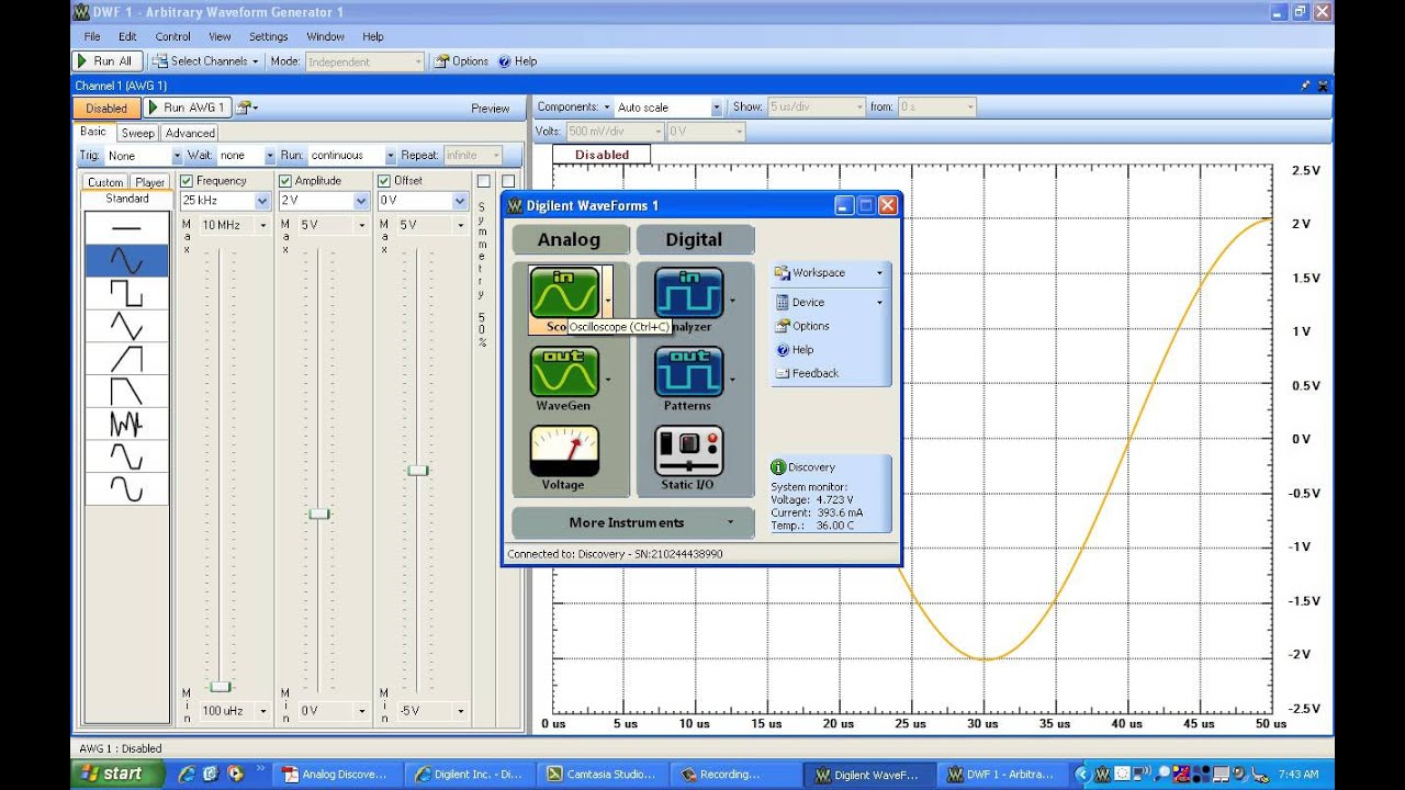 Implementation Of Passive Band Pass Filter Using Analog Discovery Kit With Waveform Software Youtube