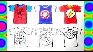 Superheroes T-Shirt SpeedCOLORS COLORING  Spiderman, Hulk, Captain america, Flash, Wonder woman